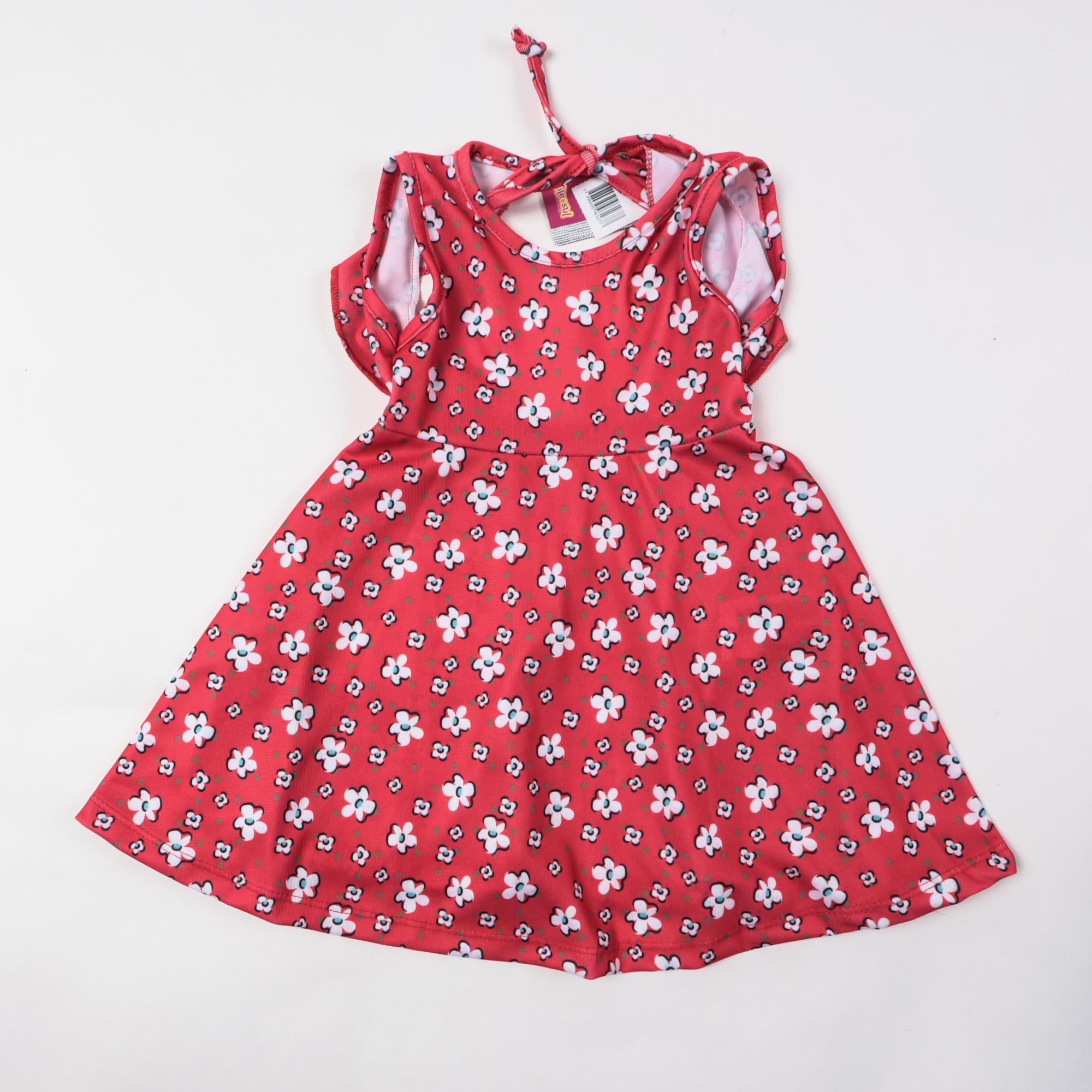 Vestido De Malha Rodado Curto Infantil