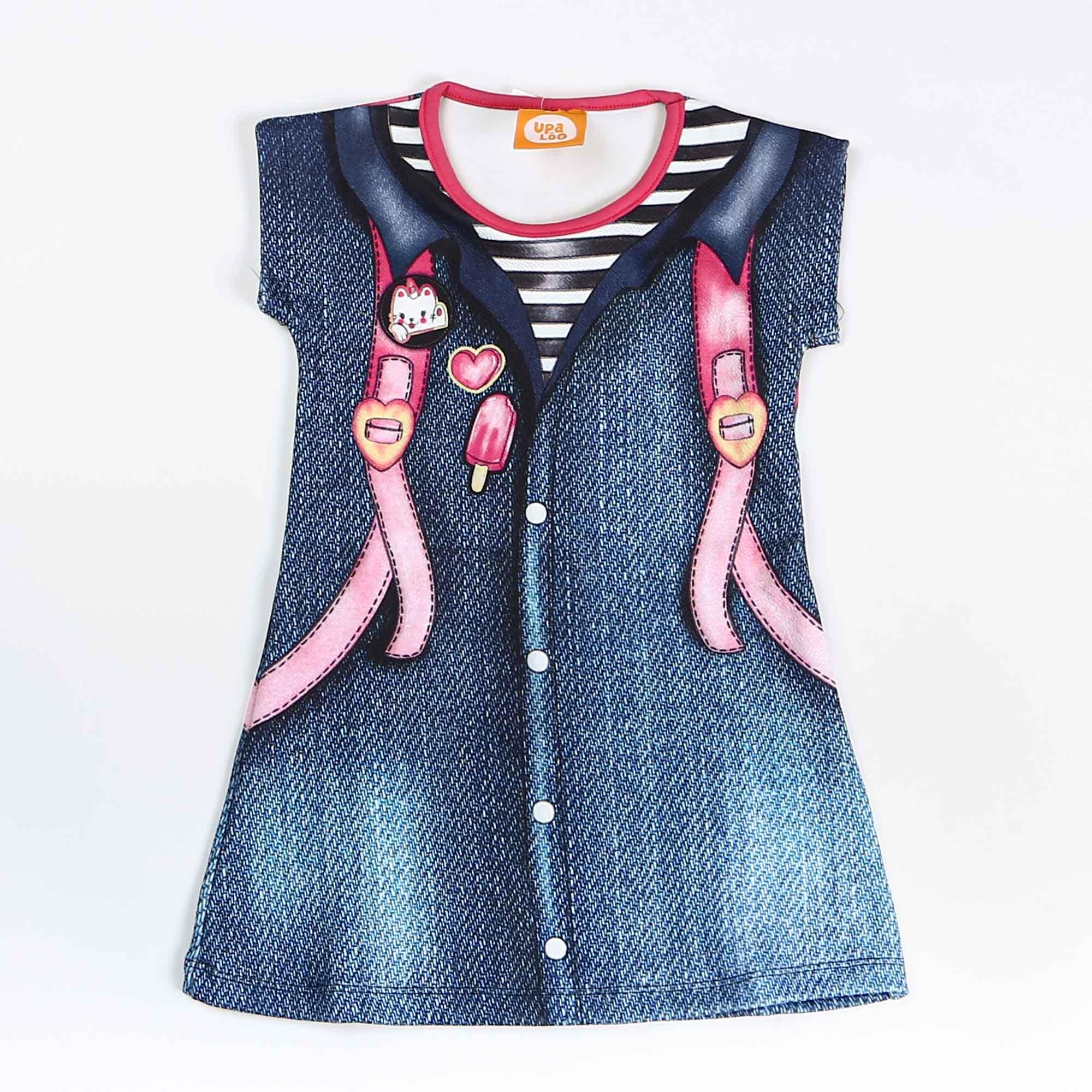 Vestido Infantil Crepe Com Desenho Jeans