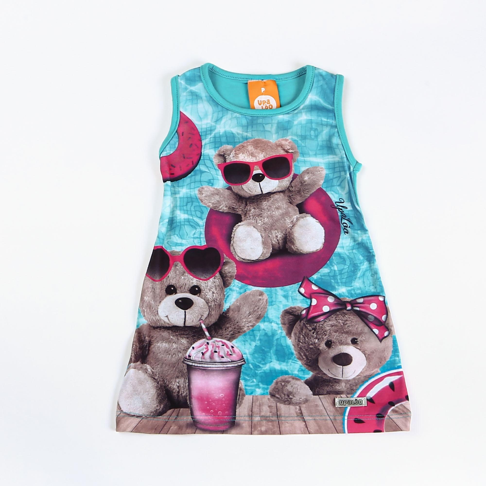 Vestido Infantil De Cotton Regata Ursinho