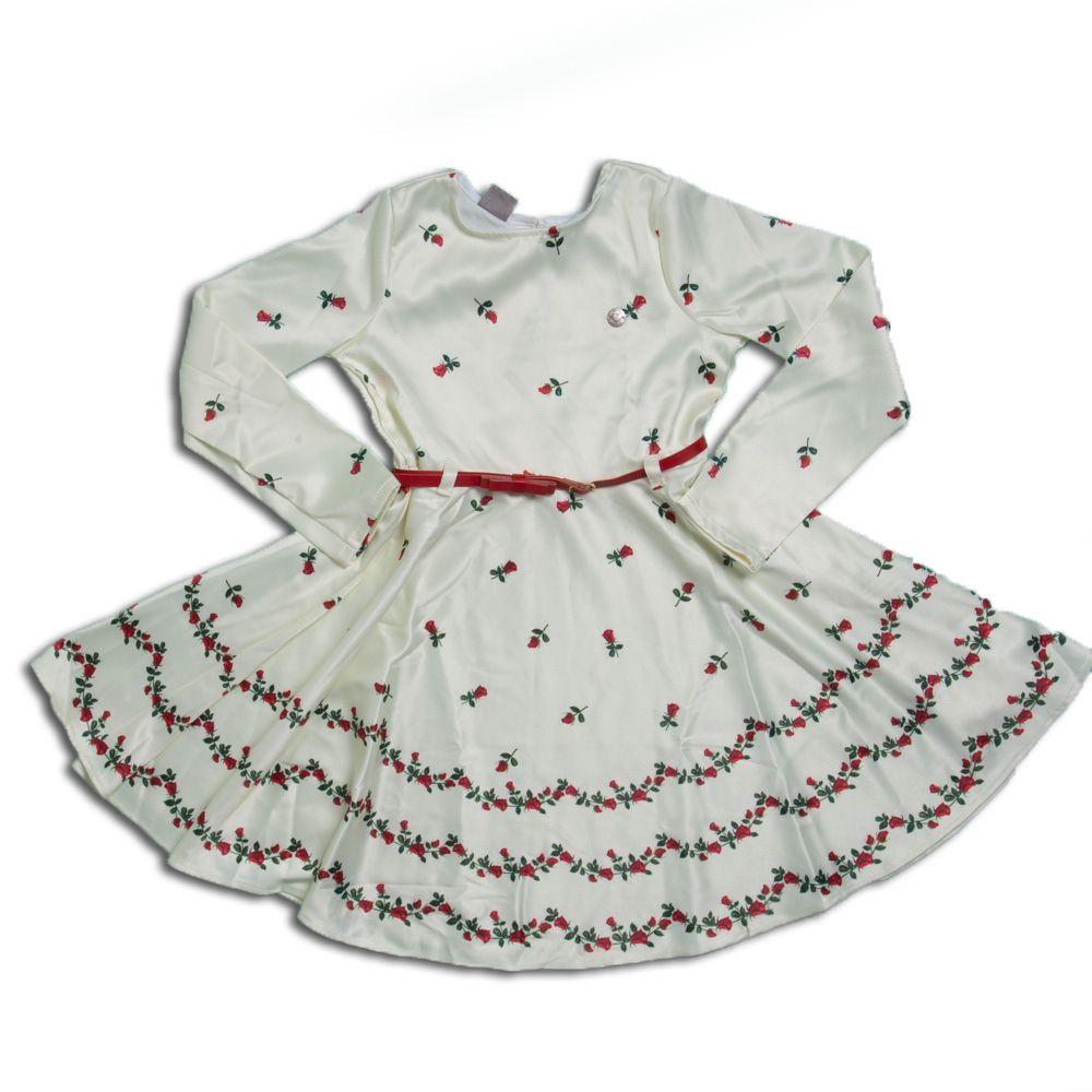 Vestido Infantil Menina Luxo Com Cinto - Mundi