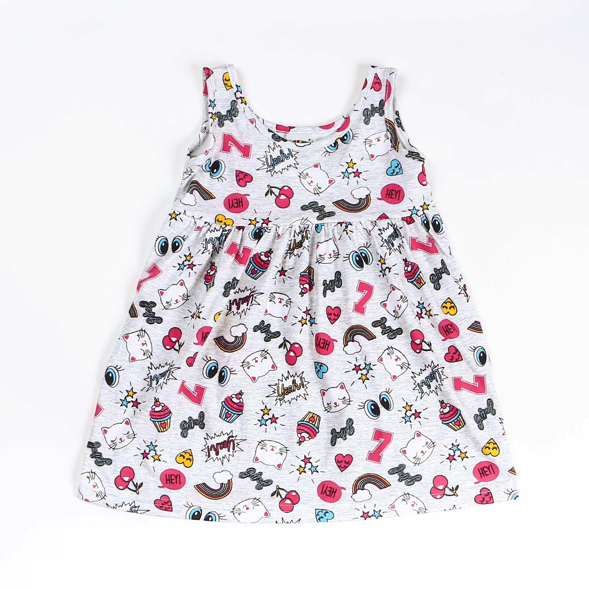 Vestido Regata Em Malha Infantil Estampado