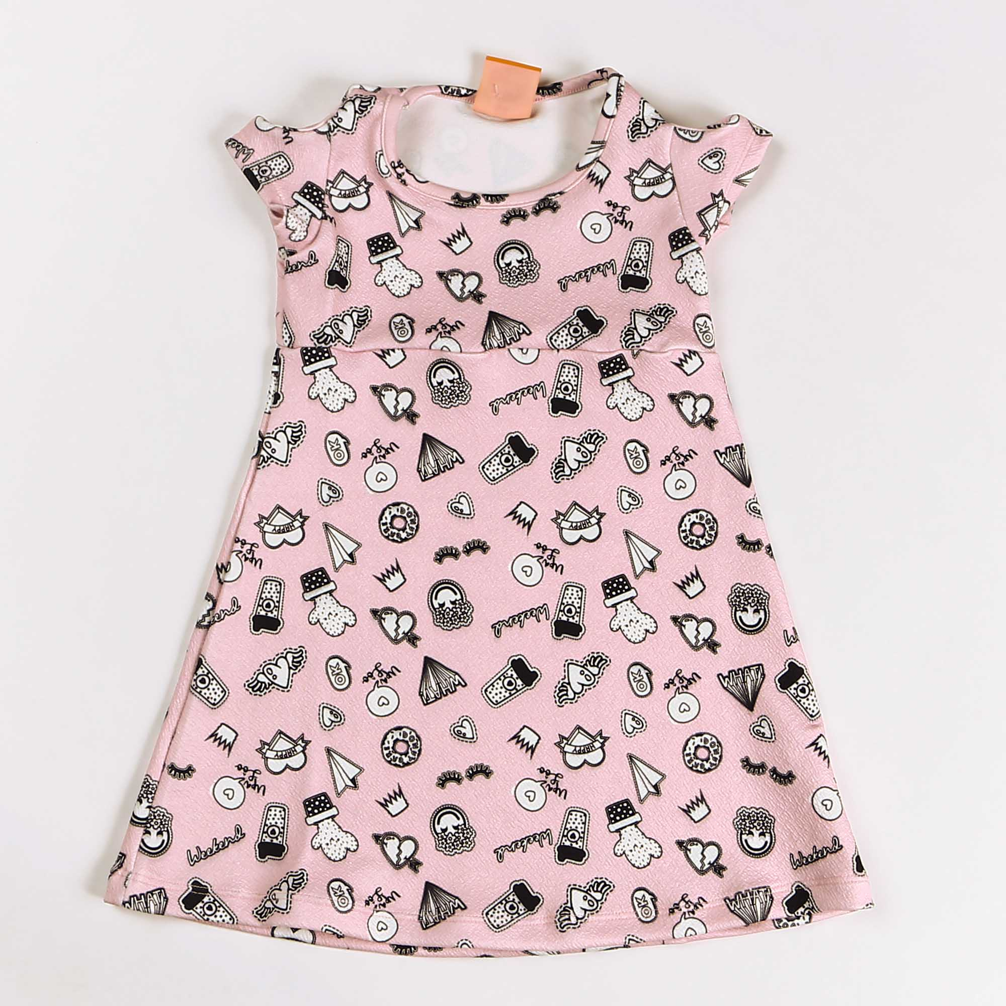 Vestido Regata Infantil Crepe Rosa Estampada