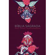 Bíblia NVT Indian Flowers Vinho