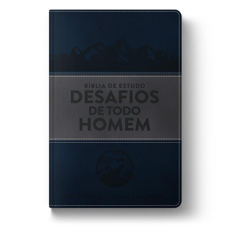 Bíblia de Estudo: Desafios de Todo Homem (NVT) - Capa Azul & Cinza  - Sankto   Crer para entender