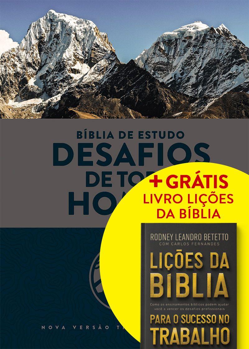 Bíblia de Estudo: Desafios de Todo Homem (NVT) + GRÁTIS: Livro Lições da Bíblia para sucesso no trabalho - Capa Azul & Cinza