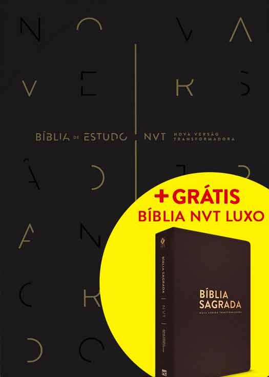 Bíblia de Estudo NVT (Preta) + GRÁTIS: Bíblia NVT Luxo (Marrom - Letra Normal)