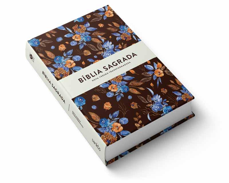 Bíblia NVT Blue Flowers Letra Grande  - Sankto   Crer para entender