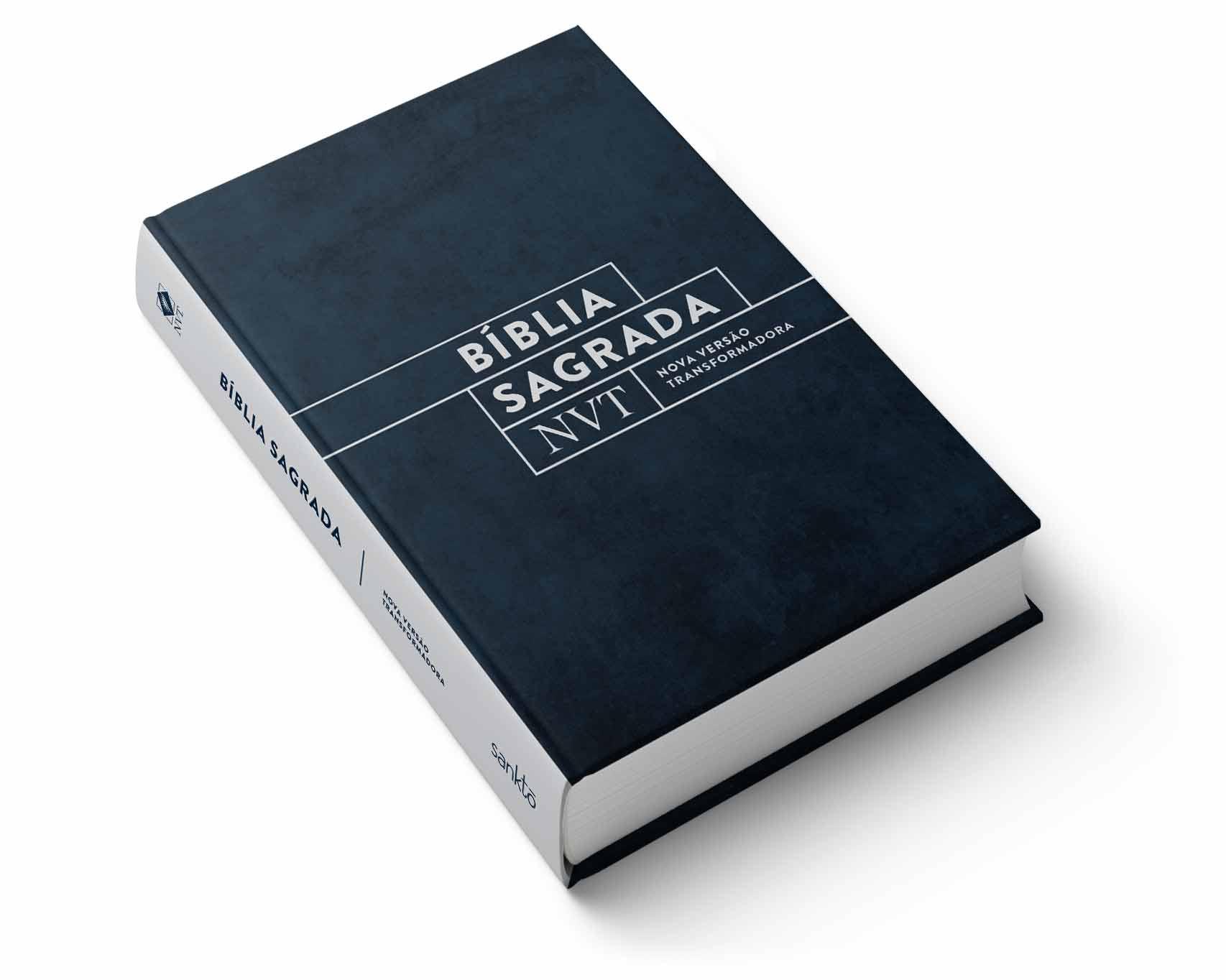 Bíblia NVT Camurça (Azul) - Letra Normal  - Sankto | Crer para entender