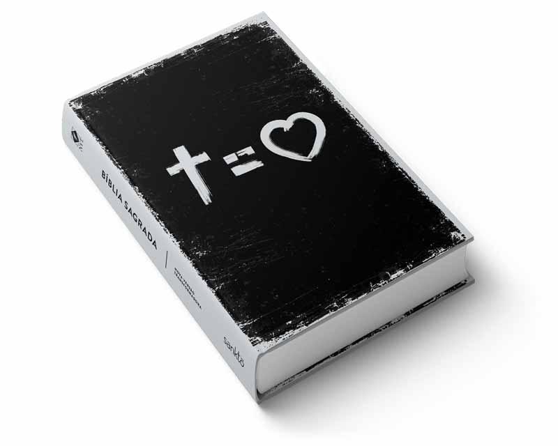 Bíblia NVT Cross Equals Love  B&W Letra Grande  - Sankto | Crer para entender