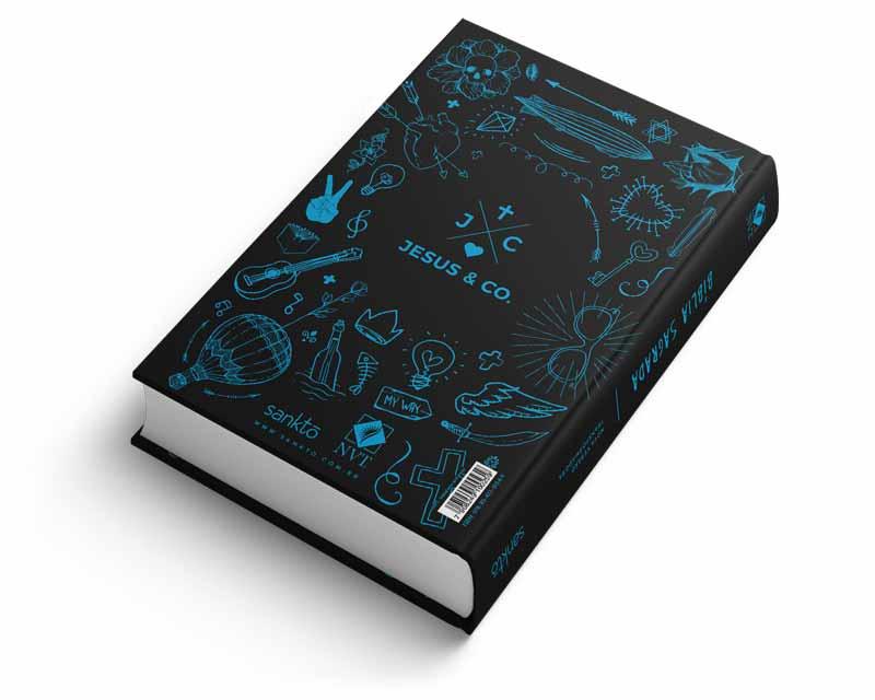 Bíblia NVT Imitadores de Cristo - Azul & Preto  - Sankto   Crer para entender