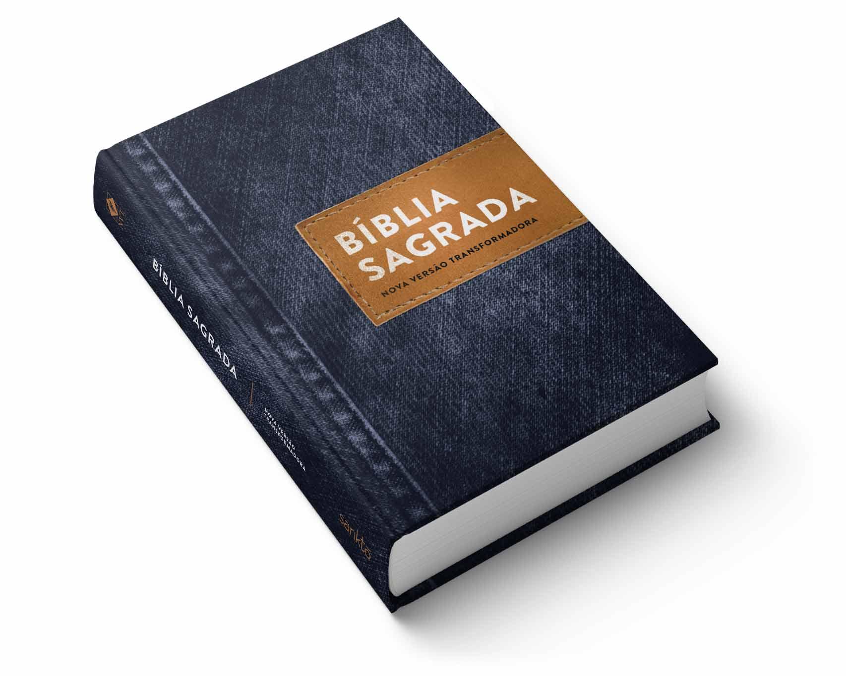Bíblia NVT Jeans Básico  - Sankto   Crer para entender