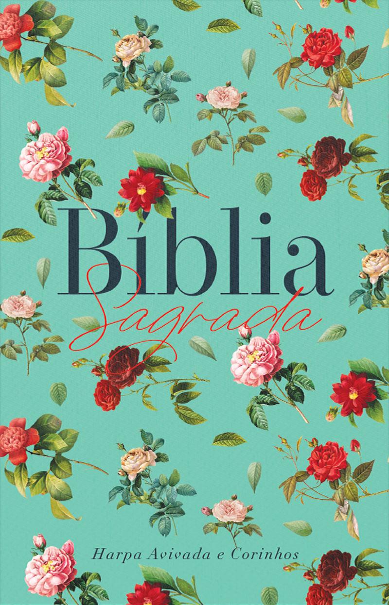 Bíblia ARC Rosas do Campo Aqua - Letra Normal