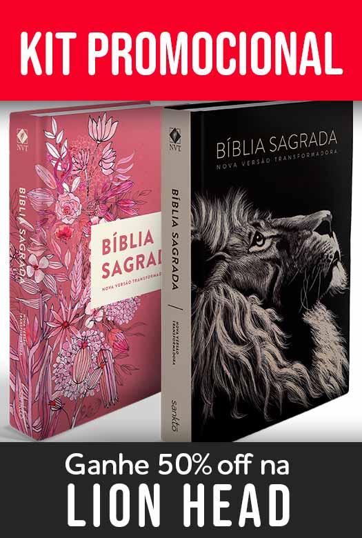 Kit Bíblia NVT Lion Head + Buquê de flores (Letra Normal)