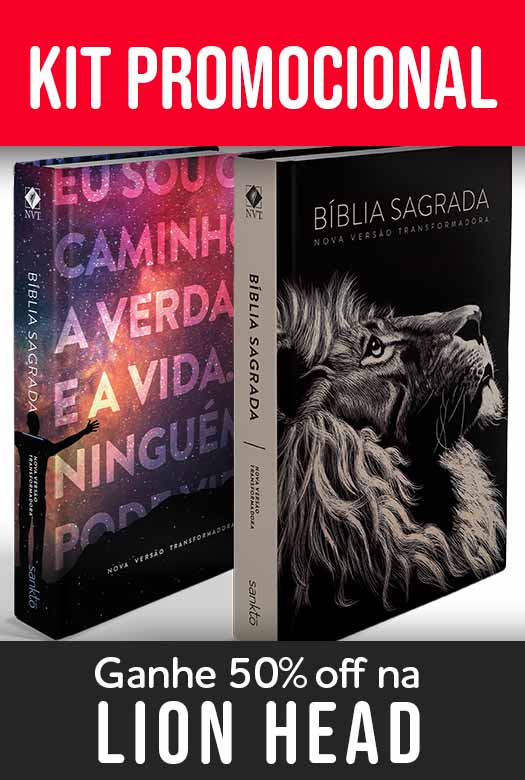 Kit Bíblia NVT Lion Head + Eu sou o caminho (Letra Normal)