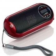 Caixa Caixinha Som Portátil Mp3 Usb Cartão Sd Fm Speaker 2.0 - Recarregável Vermelho