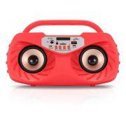 Caixa de Som Amplificada Bluetooth Portátil 20 Watts Mp3 Rádio Fm Usb Microfone - Vermelho