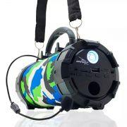 Caixa de Som Amplificada Bluetooth Portátil Mp3 Rádio Fm Usb P2 - Camuflado