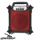 Caixa Som Amplificada Bluetooth Portátil Mp3 Rádio Fm Usb P2 - Vermelho