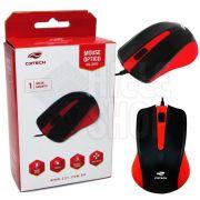 Mouse Óptico Usb Vermelho Original Ergonômico 1000 Dpi C3 Tech
