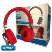Fone de Ouvido Bluetooth 5.0 com Microfone Original Knup - Vermelho