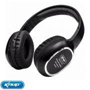 Fone Ouvido Headphone S/fio Bluetooth Sd Rádio Fm Mp3 Knup - Preto