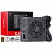 Fonte 80 Plus 650W Real Atx Electro V2 Pcyes 20/24 pinos Pc Gamer - ELECV2PTO650W