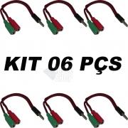 kit - 06 Cabo P2 Adaptador P2 P3 (p2 Combo) P/ Fone E Microfone Headset