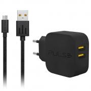 KIT Carregador Turbo de Parede Pulse CB152 Premium Charger USB Micro USB 15w - 3A
