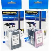 Kit - Cartucho HP 122 XL Preto + Colorido Deskjet 1000 1050 2000 2050 3000 3050 Masterprint