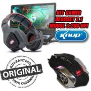 Kit Headset 7.1 Ultra Bass + Mouse Pc Gamer 3.200 Dpi Originais KNUP