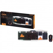 Kit Teclado E Mouse Gamer 2400dpi Backlight Colorido Mouse óptico 6 Botões Black White Orange
