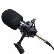 Microfone Condensador Kit Profissional Pedestal Pop Filter Cardióide e Unidirecional