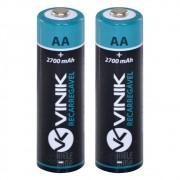 Pilha Recarregável AA 2700 Mah Pack Com 2 Original 1,2V Vinik