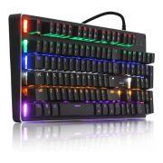 Teclado Gamer Mecanico Profissional Teclas Anti Ghost Switch Blue LED Multicolor Corpo em metal A+