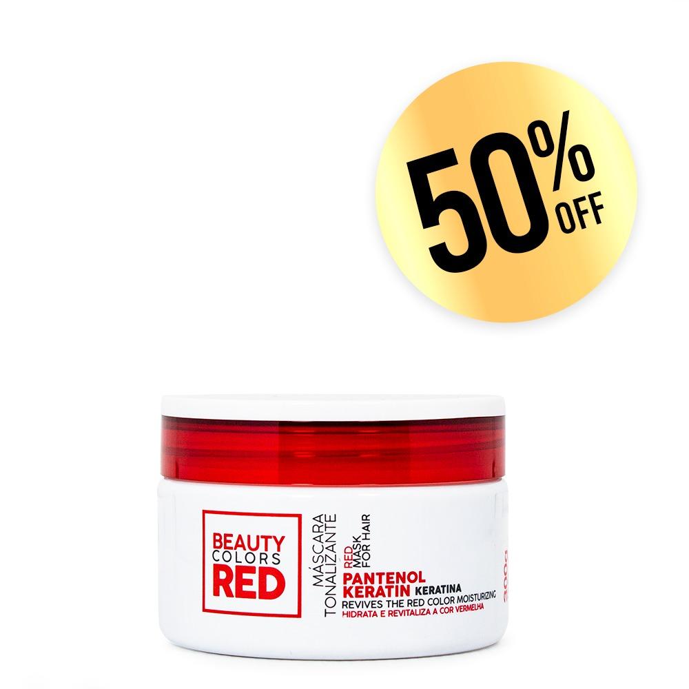 <b>Máscara Tonalizante Iluminadora Hidratante para cabelos vermelhos Beauty Colors Red.</b> Nutre e hidrata os fios protegendo a integridade dos pigmentos por muitos mais tempo - 300g