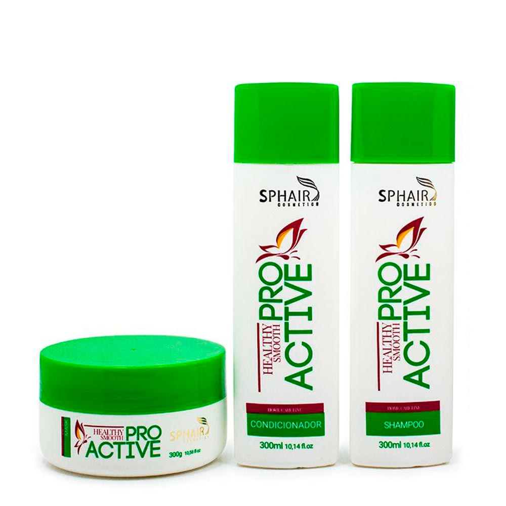 <b>Kit Home Care Pro Active</b>: ideal para cabelos secos e ressecados que precisam de uma nutrição diária e reposição de nutrientes. Evita o frizz, confere brilho e maciez