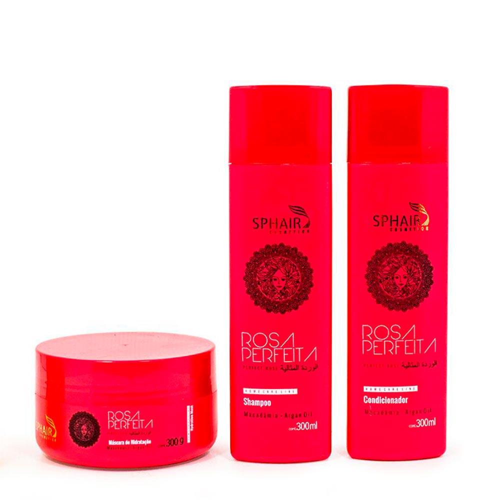 <b>Kit de Hidratação Home Care Rosa Perfeita</b>: para todos os tipos de cabelo. Conferindo hidratação profunda aos fios, melhorando a flexibilidade e a maleabilidade dos fios, controla o frizz