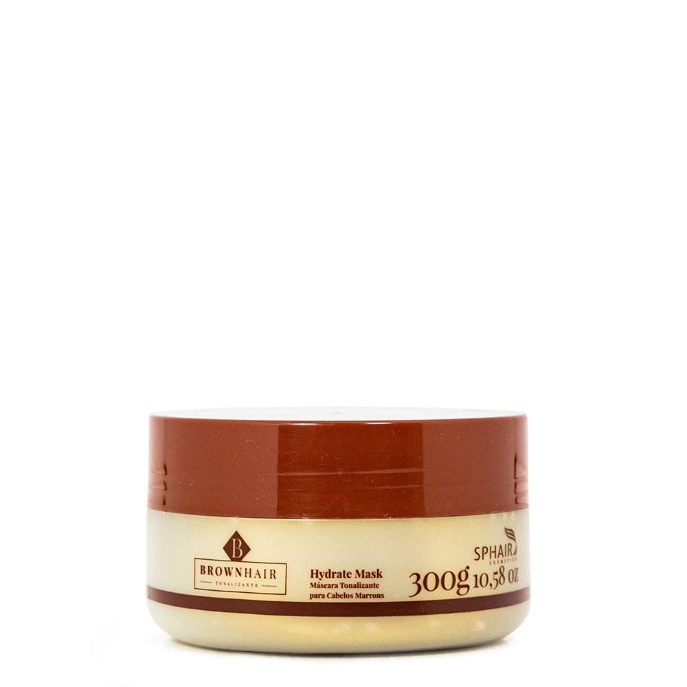 <b>Máscara Tonalizante Iluminadora para cabelos castanhos, marrons e chocolates Brown Hair</b>. Hidrata e realça a cor no ato que tonaliza -300g