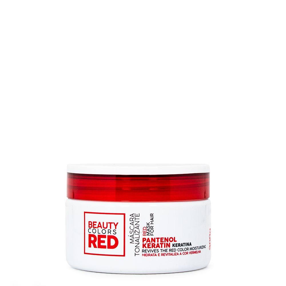 <b>Máscara Tonalizante Iluminadora Hidratante para cabelos vermelhos Beauty Colors Red.</b> Nutre e hidrata os fios no ato que tonaliza - 300g