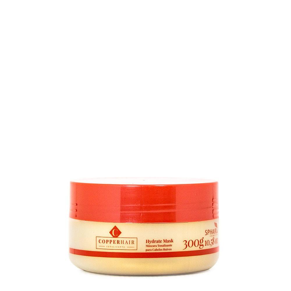 <b>Máscara Tonalizante Iluminadora Hidratante para cabelos ruivos, naturais ou não, Copper Hair</b>. Tonaliza de forma semi permanente e realça a cor dos fios, deixando o ruivo brilhoso e macio - 300g