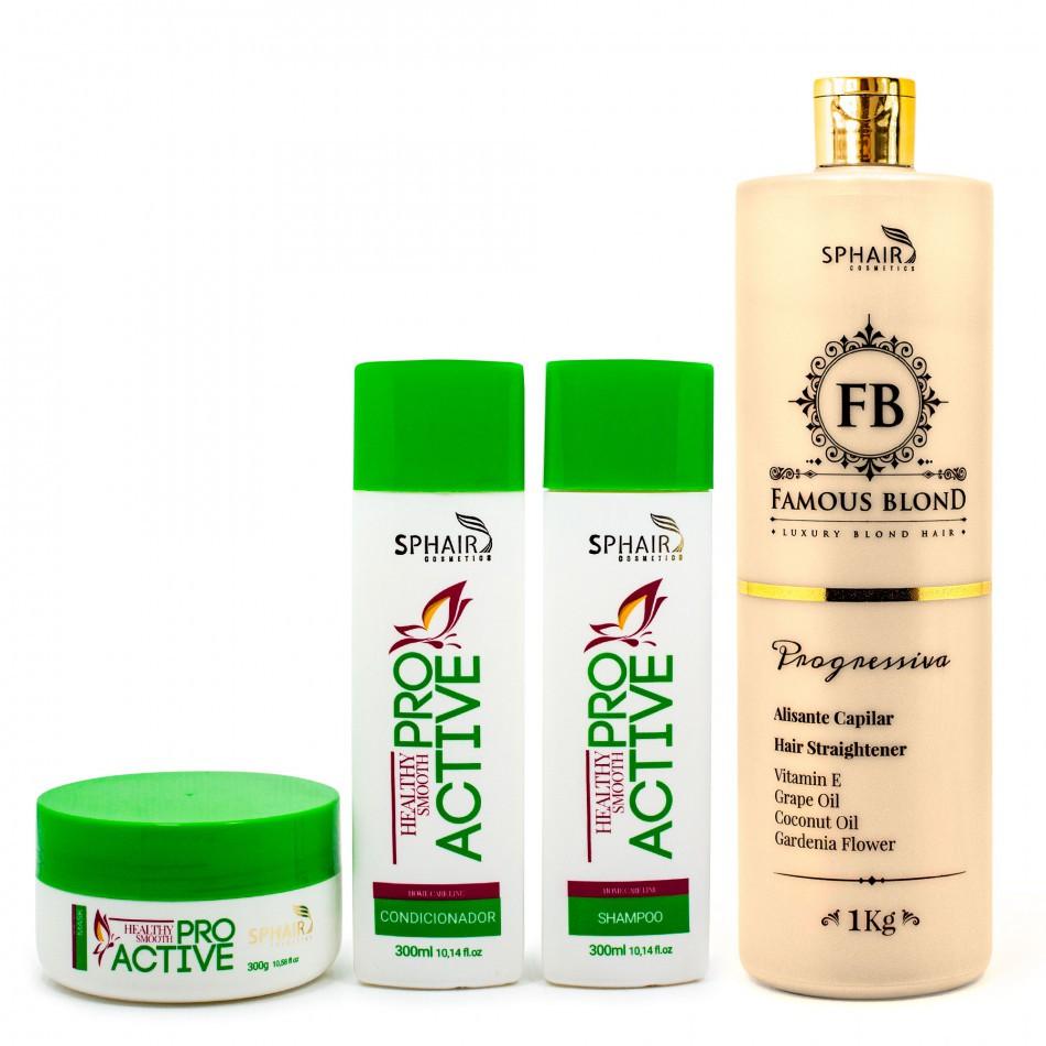 <b>ProActive Kit Completo Home Care + Progressiva Famous Blond</b>: Ideal para cabelos loiros e coloridos - De 527,29 por R$ 444,79