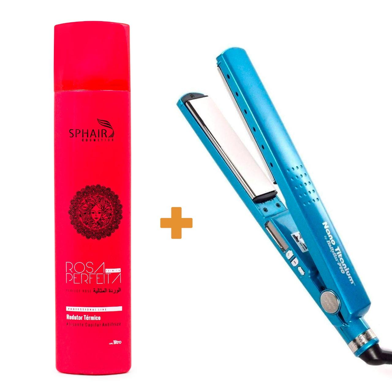 Progressiva Rosa Perfeita + Prancha BabyLiss Nano Titanium de R$772,10 por 690,47