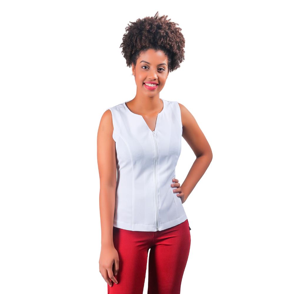 1 Colete feminino social várias cores sem manga e fechamento  com zíper Blanco Raro