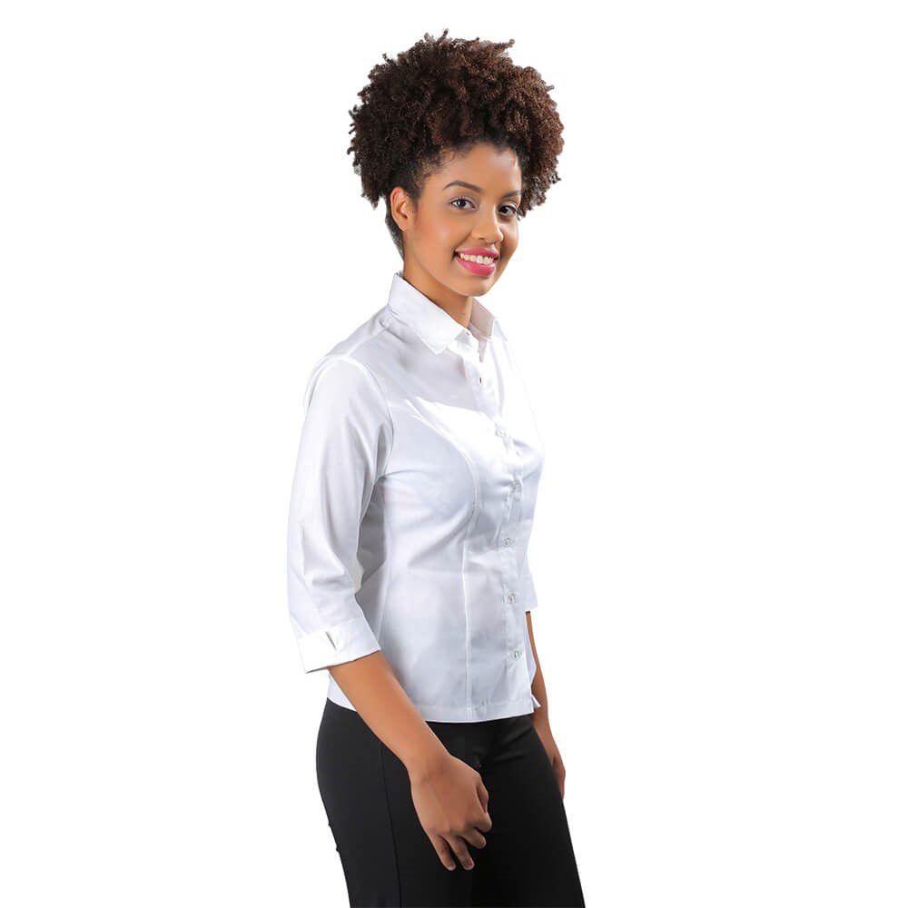 Blusa feminina branca Social  tricoline  manga longa  Blanco Raro