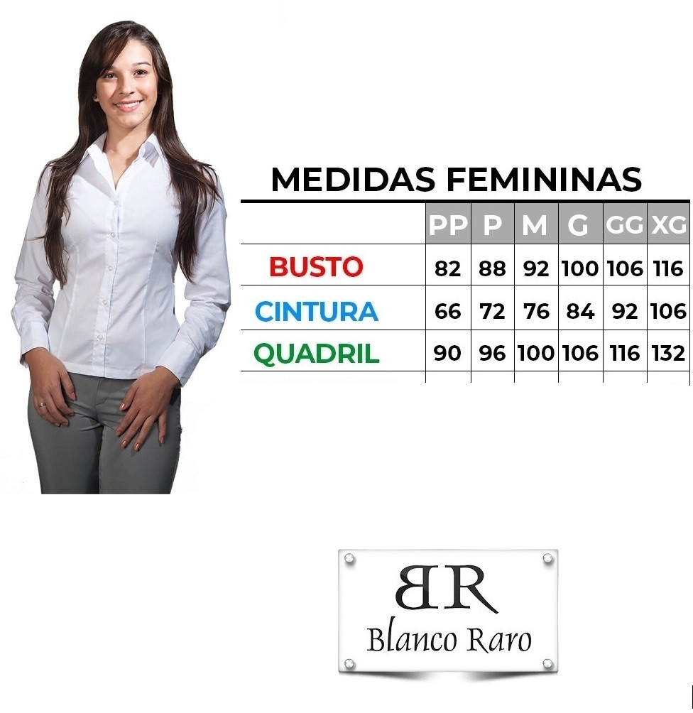 Blusa feminina branca Social  acinturada  manga longa  Blanco Raro