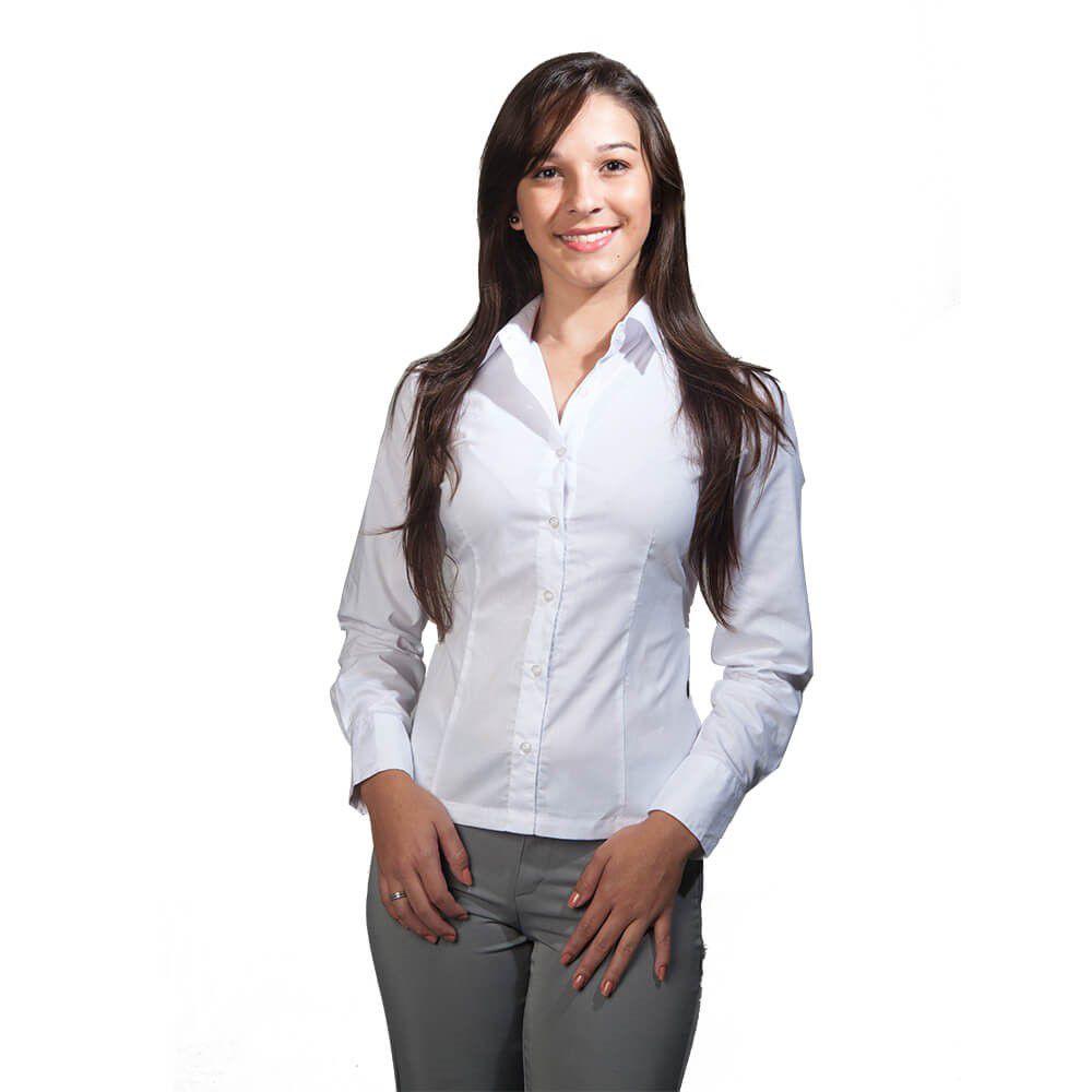 Blusa feminina branca tricoline  manga 3/4 Blanco Raro