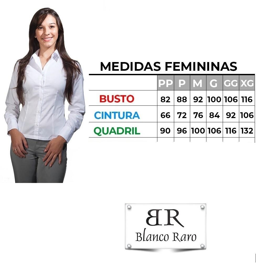 Blusa social feminina branca acinturada  manga 3/4 Blanco Raro