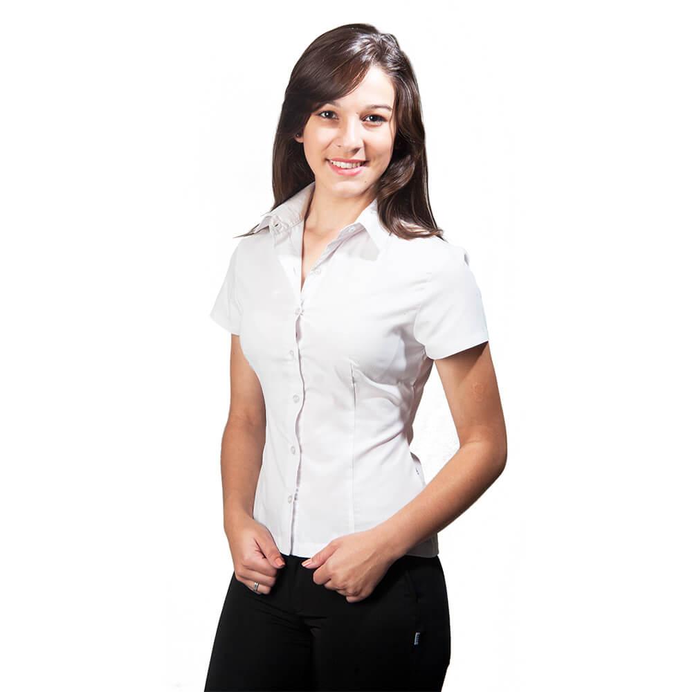 Blusa feminina   tricoline manga curta Blanco Raro