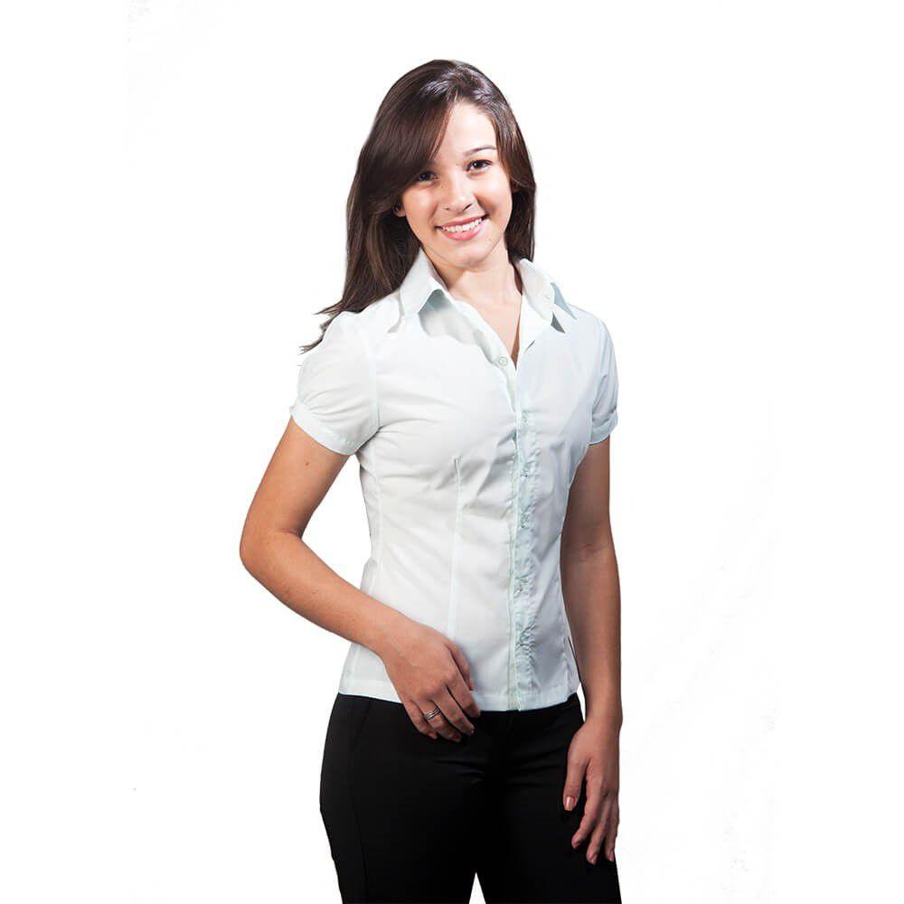 Blusa feminina   tricoline  manga curta com punho  Blanco Raro