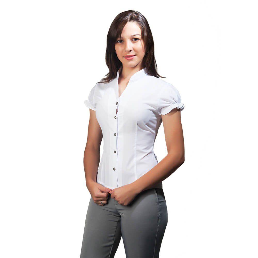 Blusa feminina  tricoline  manga fofa  Blanco Raro